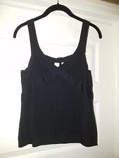 SHU SHU Womens Black Fine Knit Shell Tank Top Sleeveless Large, Free Shipping