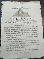 1797 MODENA: REPUBBLICA CISALPINA SU FESTA PATRIOTICA VIVERE LIBERI O MORIRE