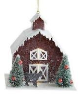 """4.75"""" Tall Red Paper Barn Christmas Village Ornament with Cow Figure"""