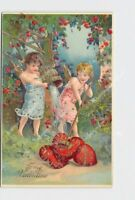 PPC POSTCARD VALENTINE CUPID CHERUBS WASHING HEARTS GOLD EMBOSSED