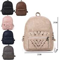 New Womens Fashionable Studded Detail Adjustable Backpack Girls School Rucksack