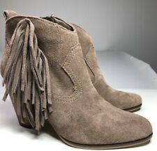 Steve Madden Womens SZ 8 Cian Booties Taupe Suede Leather Zip Fringe High Heel