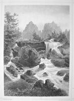 SLOVAKIA Studeny Potok Waterfall High Tatras - 1870s Original Engraving Print