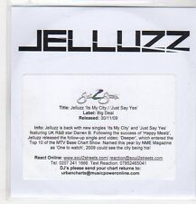 (EP665) Jelluzz, It's My City / Just Say Yes - 2009 DJ CD