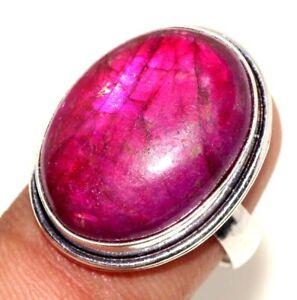 Red Flash Labradorite 925 Silver Plated Gemstone Ring us 8 Birthday Gift GW