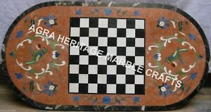 4'x2' Marble Black Chess Dining Table Top Parrot Inlay Design Living Decor E1197