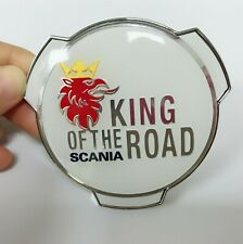 1pc Scania King of the Road Truck Lorry Grill Badge Emblem V8 Streamline Blue