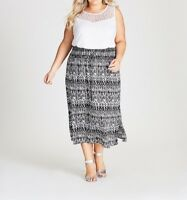 AUTOGRAPH BLACK & WHITE SKIRT WITH ELASTIC WAIST VISCOSE MATERIAL  Size 18