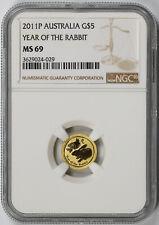 2011 P Australia Year of the Rabbit Gold $5 MS 69 NGC 1/20 oz