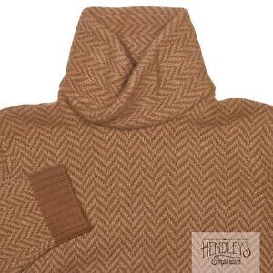 RALPH LAUREN PURPLE LABEL Cowl Neck Sweater XL Sand Tan Chevron Cashmere-Wool