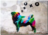 "BANKSY STREET ART CANVAS PRINT Berlin CMYK Dog 16""X 12"" stencil poster #2"