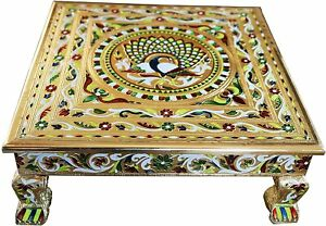 Table Wooden Low Coffee Hand Carved Sculptured Oxidised Bajot Side Ethnic Indian