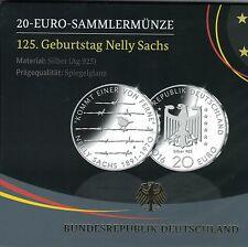 """20 € Gedenkmünze 2016 F """"Nelly Sachs"""" 925er Silber PP/Spiegelglanz"""