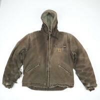 Destroyed Sun Faded Distressed Carhartt Hooded Jacket Grunge Workwear Brown L