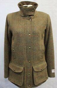 Ladies Mustard/Brown Harris Tweed 4 Pocket Field Coat Size SMALL (UK 10)