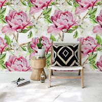 Non-Woven wallpaper Pink watercolor peonies Beautiful floral Colorful flowers