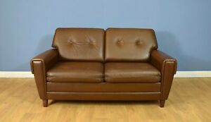 Mid Century Retro Danish Buttoned Brown Leather Two Seat Sofa Settee Couch 1960s