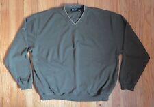 PING Mens L V-Neck Olive Green Ribbed GOLF Sweater Jacket Pullover Deep POCKETS