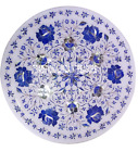 """12"""" White Marble Serving Tray Plate Pietradure Lapis Inlay Home Decor Gifts Art"""