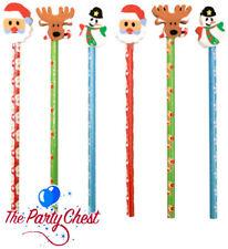 6 matite di Natale con Eraser Tops Kids Calza Filler Partito Favori STAT 14