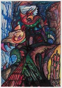 Art Brut, outsider art, Psychodelic 1990er Otto Flor, signiert