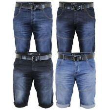 Mens Denim Shorts Crosshatch BELT Knee Length Roll Up Faded Casual Summer New