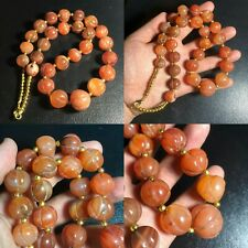 African Old Carnelian Pumkin Carved Old Agate Stone Beads Lovely Necklace