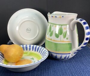"Vtg Gibson Housewares Bernini Painted Pottery 8"" Pitcher & 2 Soup Serving Bowls"
