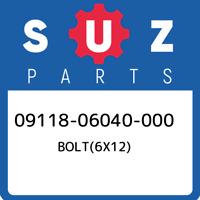 09118-06040-000 Suzuki Bolt(6x12) 0911806040000, New Genuine OEM Part