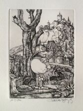 "CHARLES BRAGG ""PISSING"" Hand Signed Limited Edition Etching CAMELOT SERIES"