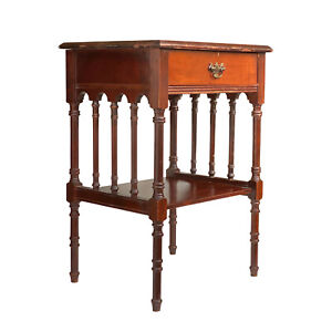Antique Traditional Victorian Carved Mahogany End Table