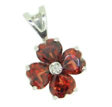 14k Gold Pendant with Heart Shaped Genuine Natural Garnets and Diamonds (#J4187)