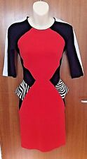 River Island ~ eighties style body-con stretch  red zip dress UK 6 / EU 32