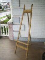 "Large Floor Easel Stand Gold Gilt Gesso  65""  Eastlake Victorian Tripod  Rare"