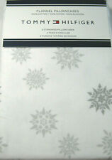 Tommy Hilfiger Standard Flannel Pillowcases Cotton  Snowflakes White /Gray 2 Pk.