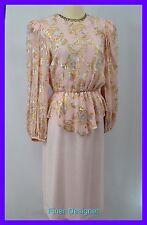 Patra Vintage MOB knee Gown Dress metallic shimmer mock 2pc peplum blush 5 6 NEW