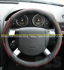 UNIVERSAL HONDA FAUX LEATHER LOOK RED STICHING STEERING WHEEL COVER