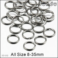 0.8x8mm Stainless Steel Split Key Ring Fishing Solid Jump Chain Hook 50pcs