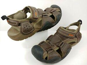 CROCS Swiftwater Leather Fisherman Sandal Brown Espresso Walnut Mens Sz 13 Shoes