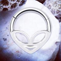 NEBULA Alien Septum Ring Alien Helix Earrings Silver Hinged Rings Tragus Hoop UK