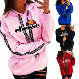 UK Women Ellesse Hoodies Ladies Hooded Jumper Casual Tops Jumper Pullover Hoody