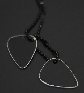 MINIMALIST MATTE BLACK STAINLESS STEEL GUITAR PICK DOG TAGS PENDANT & NECKLACE