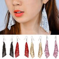 Metal Sequins Long Drop Earring For Women Tassel Dangle Hook Earrings Jewelry