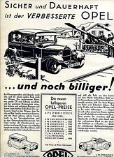 Opel--Sicher und Dauerhaft ist der Verbesserte Opel--Werbung von 1930--