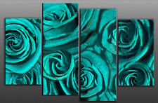 LARGE TURQUOISE ROSE ROSES FLORAL CANVAS PICTURE 40""