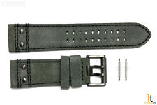 Luminox 1883 1800 Atacama 26mm Grey Leather PVD Buckle Watch Band Strap w/2 Pins