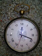 enorme orologio vintage  in ottone e legno anni 60