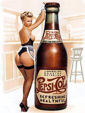 Pepsi Pin Up Girl, Retrò Alluminio Metallo Segno Vintage Pub Bar Man Grotta Capanno