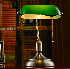 Vintage Library Table Study Lamp Bedside Desk Light LUSB Home Shade Glass Bedroo