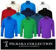 RITEMATE PILBARA - OPEN  FRONT LONG SLEEVE MENS WORK / DRESS  SHIRT - RM500BT